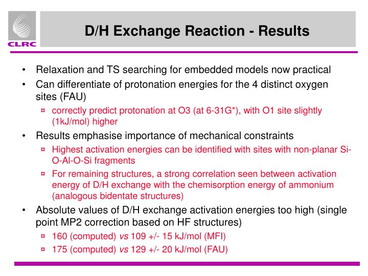 D/H Exchange Reaction - Results