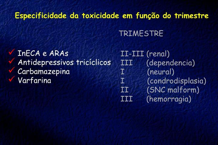 Especificidade da toxicidade em função do trimestre