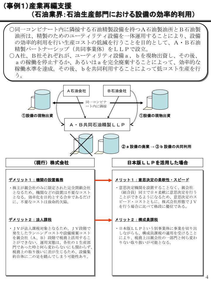 (事例1)産業再編支援