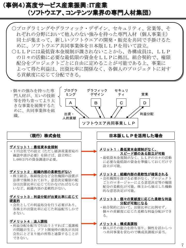 (事例4)高度サービス産業振興:IT産業