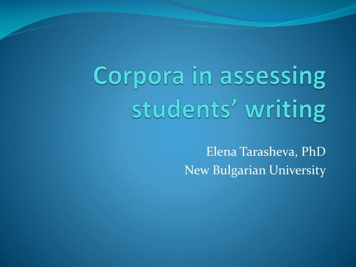 Corpora in assessing students writing