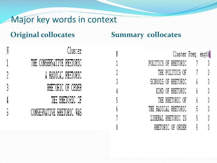 Major key words in context