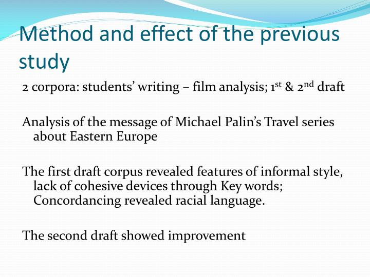 Method and effect of the previous study