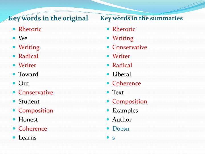 Key words in the original
