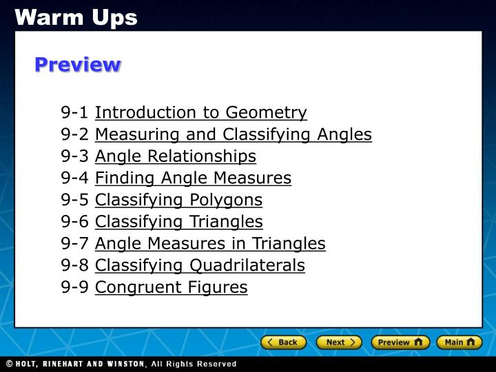 PPT - 9-1 Introduction to Geometry 9-2 Measuring and ...
