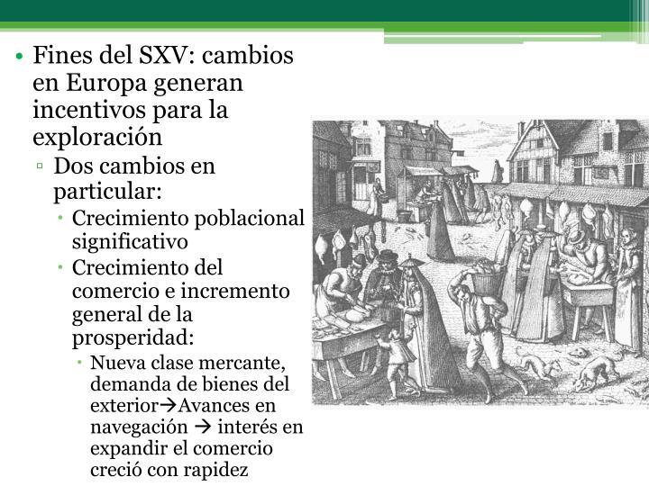 Fines del SXV: cambios en Europa generan incentivos para la exploración