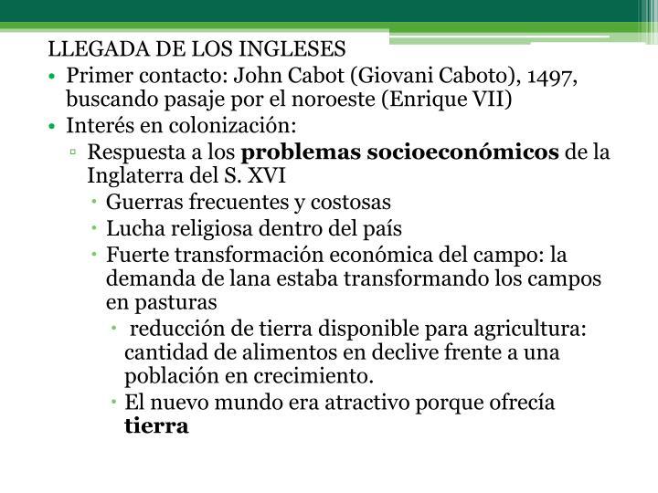 LLEGADA DE LOS INGLESES