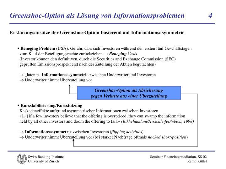 Greenshoe-Option als Lösung von Informationsproblemen            4