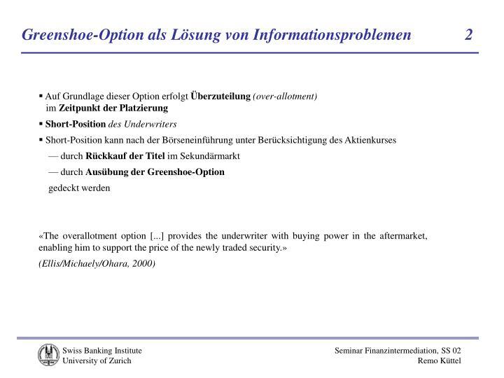 Greenshoe-Option als Lösung von Informationsproblemen            2