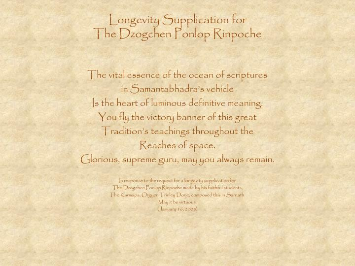 Longevity Supplication for