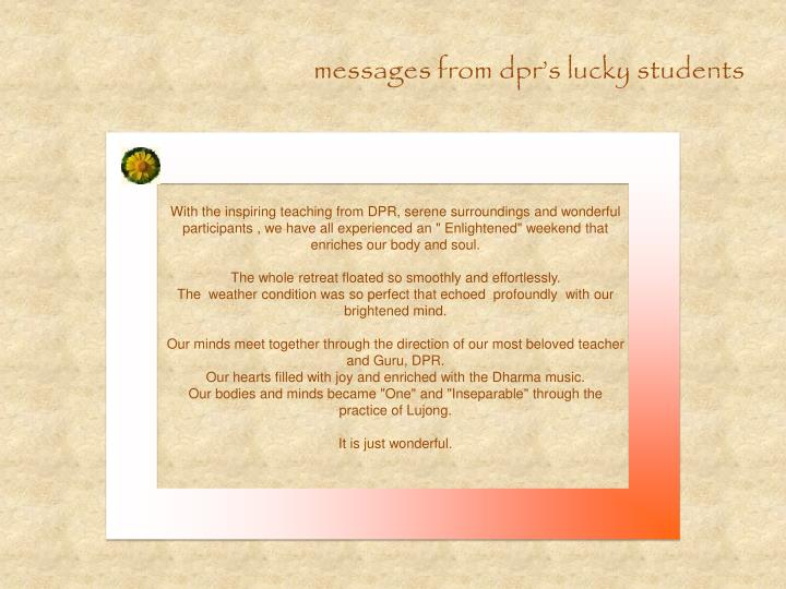 messages from dpr's lucky students