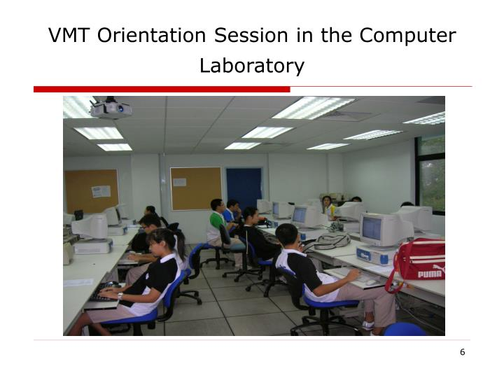 VMT Orientation Session in the Computer Laboratory