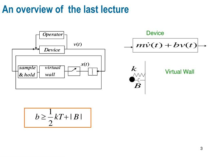 An overview of the last lecture
