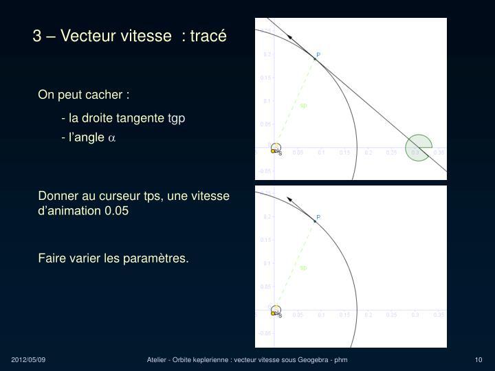 3 – Vecteur vitesse  : tracé