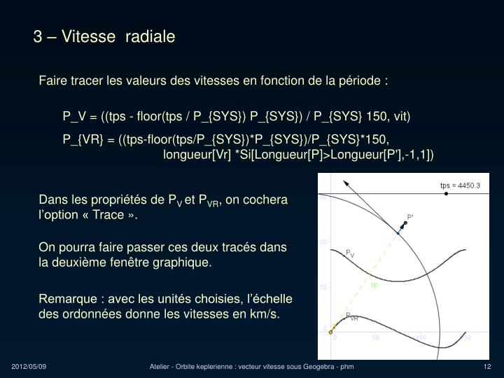 3 – Vitesse  radiale