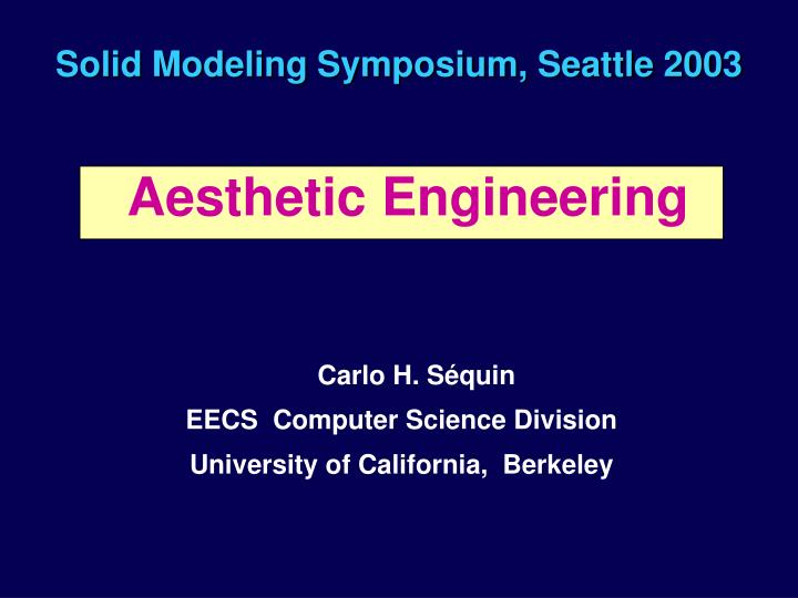 solid modeling symposium seattle 2003 n.