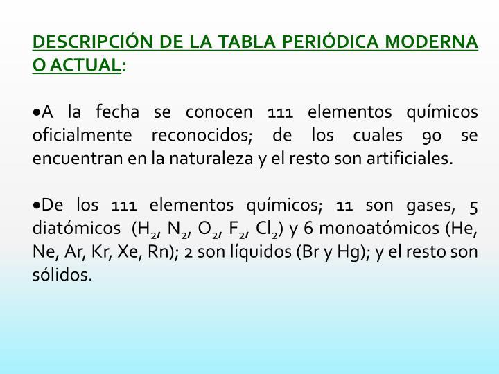 descripcin de la tabla peridica moderna o actual a la fecha se conocen 111 elementos qumicos