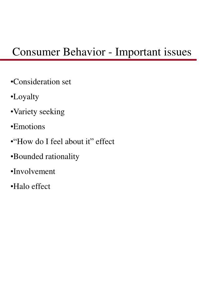 Consumer Behavior - Important issues