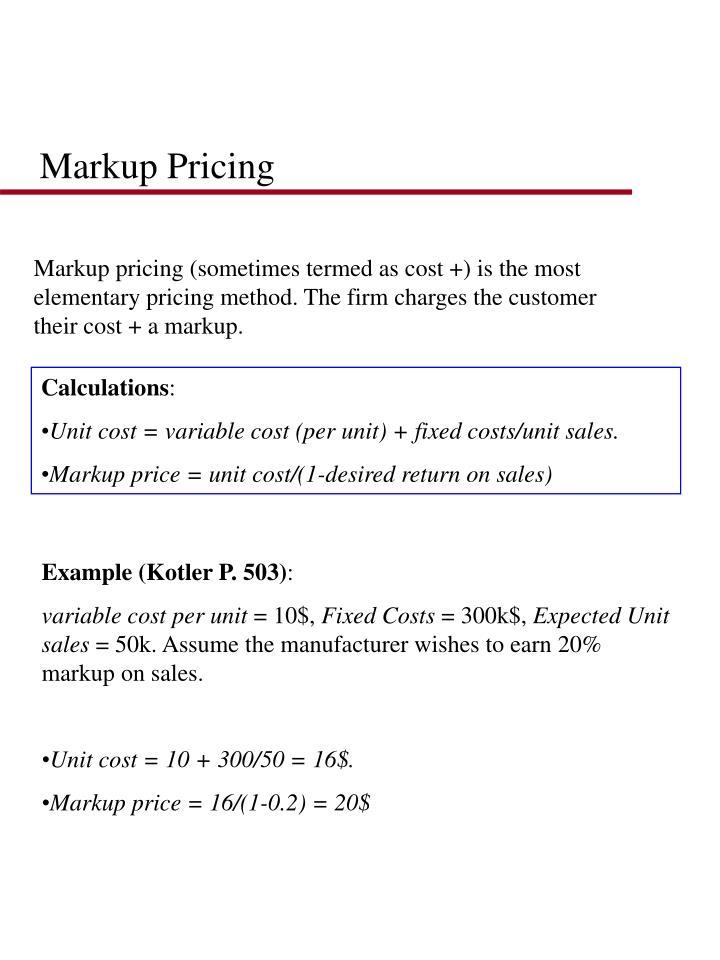 Markup Pricing