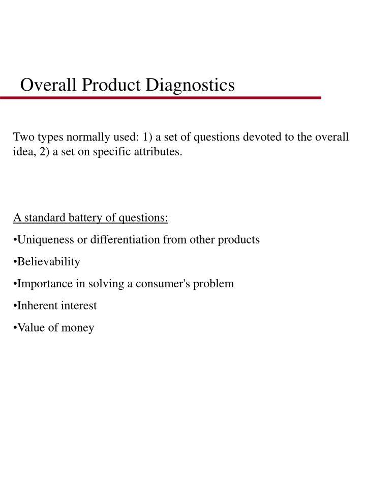 Overall Product Diagnostics