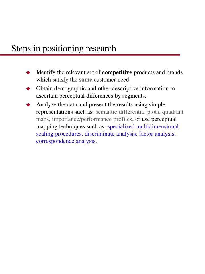 Steps in positioning research