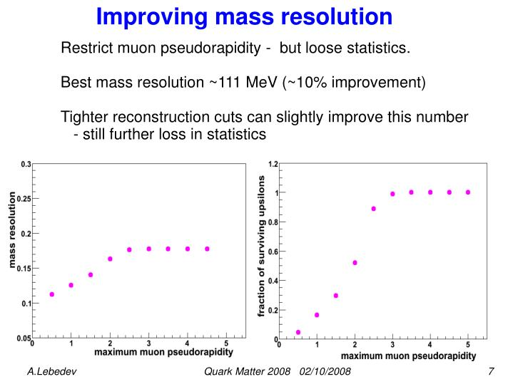 Improving mass resolution