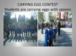 carying egg contest students are carrying eggs with spoons
