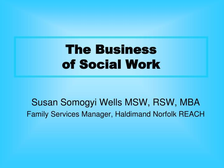 the business of social work n.