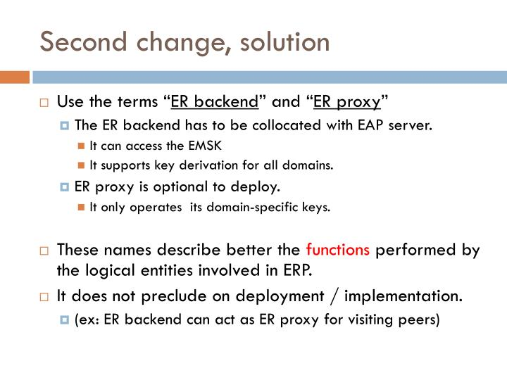 Second change, solution