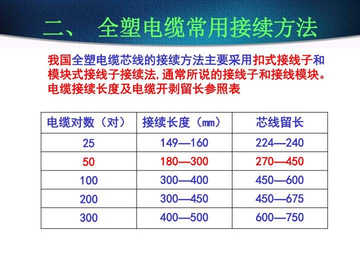 二、 全塑电缆常用接续方法