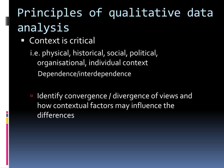 Principles of qualitative data analysis