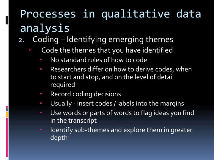 Processes in qualitative data analysis