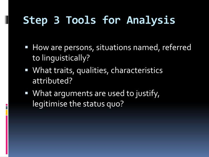 Step 3 Tools for Analysis