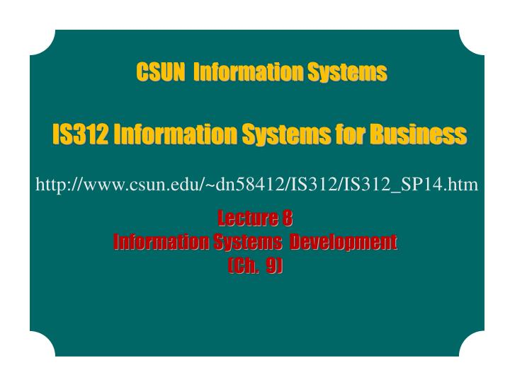 is312 information systems for business n.