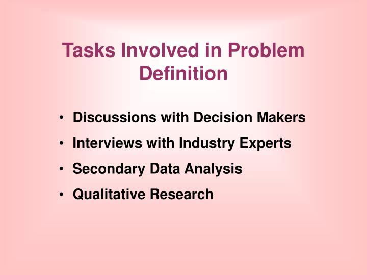 Tasks involved in problem definition