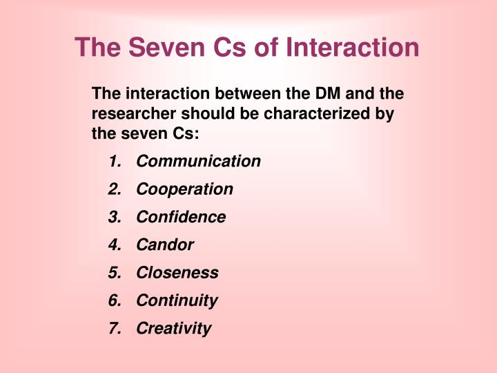 The Seven Cs of Interaction