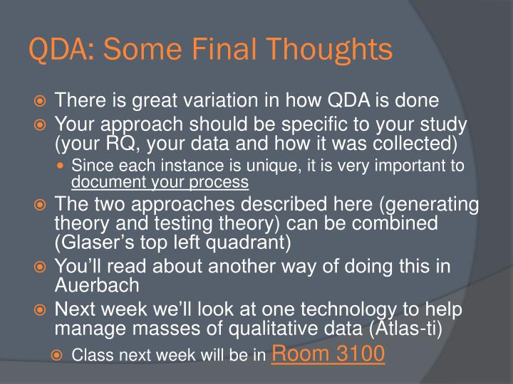 QDA: Some Final Thoughts