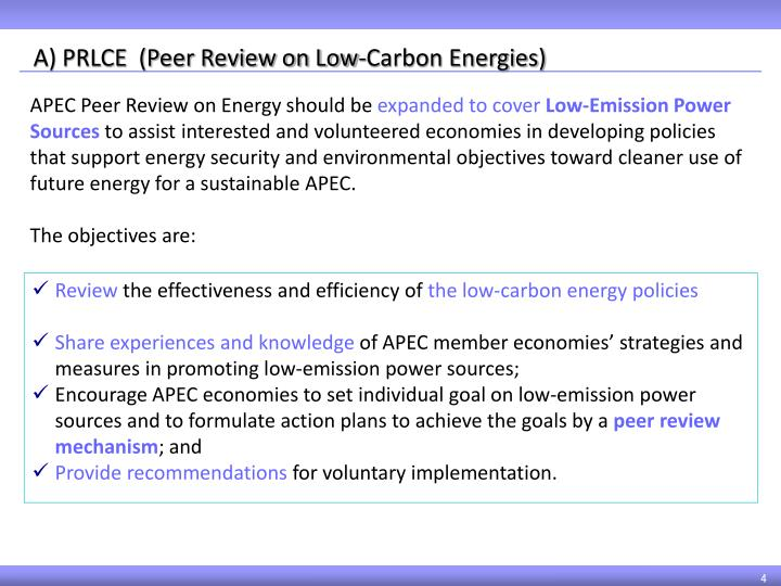 A) PRLCE  (Peer Review on Low-Carbon Energies)