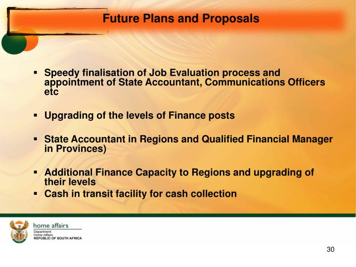 Future Plans and Proposals
