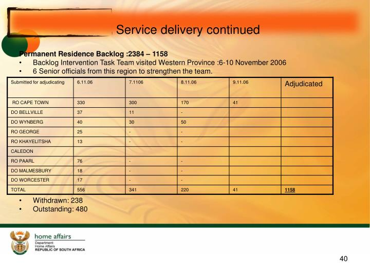 Service delivery continued
