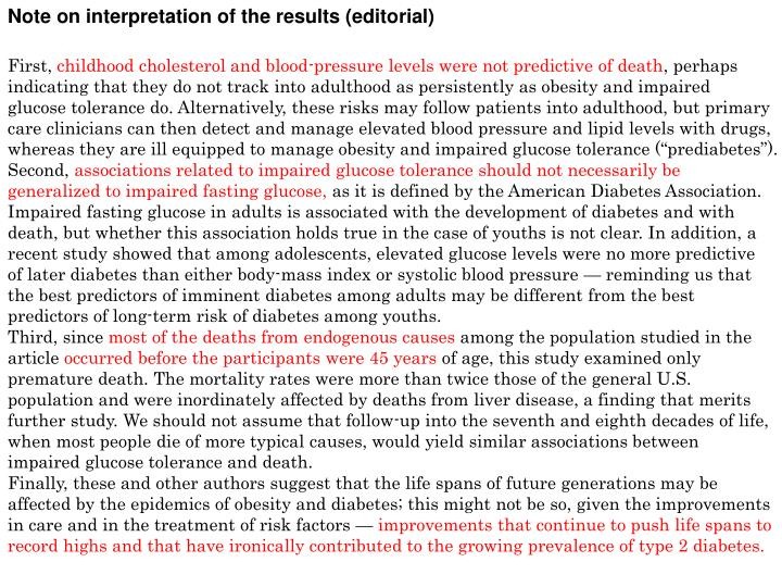 Note on interpretation of the results (editorial)
