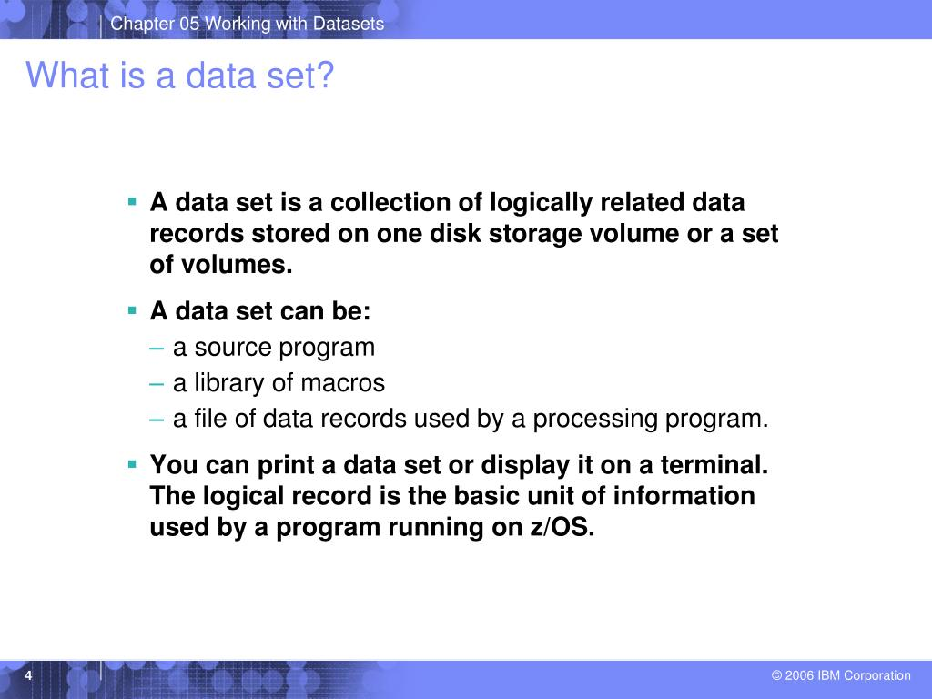 PPT - Chapter 5: Working with data sets PowerPoint