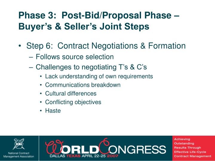Phase 3:  Post-Bid/Proposal Phase – Buyer's & Seller's Joint Steps