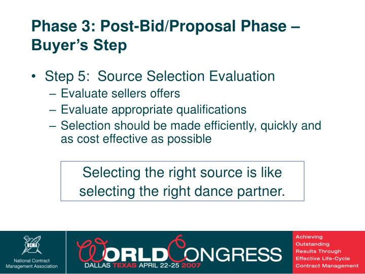 Phase 3: Post-Bid/Proposal Phase – Buyer's Step