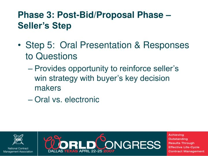 Phase 3: Post-Bid/Proposal Phase – Seller's Step