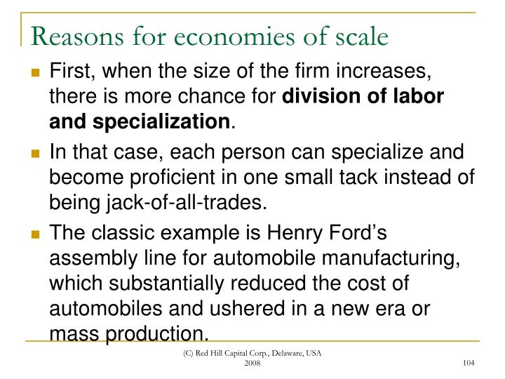 Reasons for economies of scale