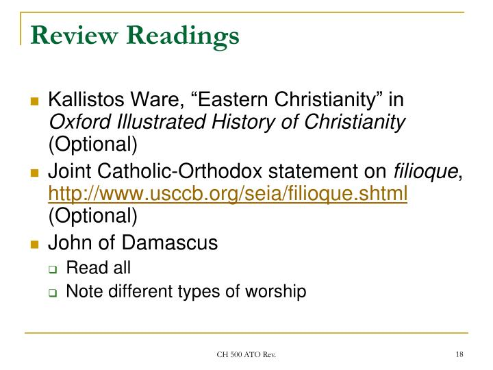 Review Readings