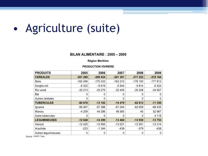 Agriculture (suite)