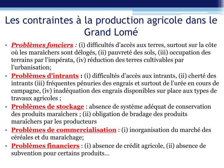 Les contraintes à la production agricole dans le Grand Lomé