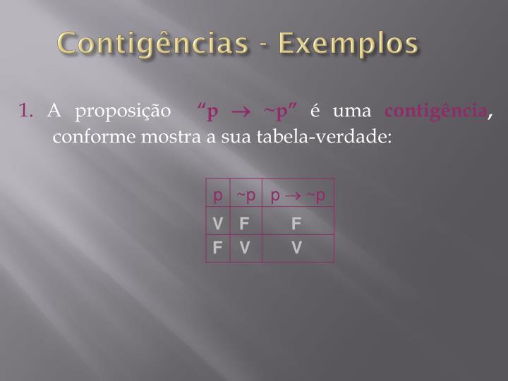 Contigências - Exemplos